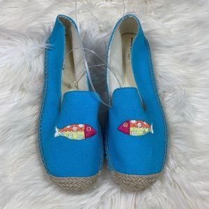 Talbots NWOB Fish Canvas Espadrille Loafer 8
